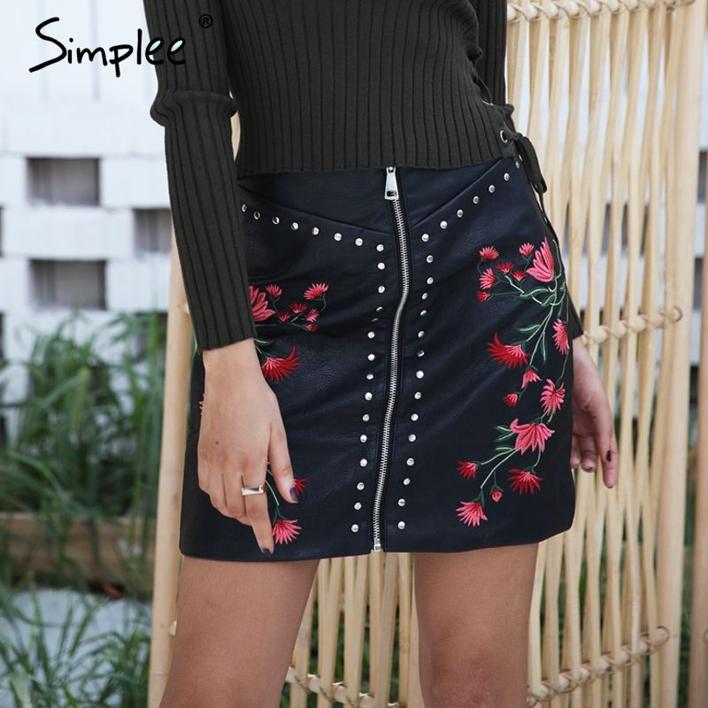 Simplee Sexy floral embroidery PU leather skirt Vintage high waist zipper short skirt Summer party streetwear slim mini skirt