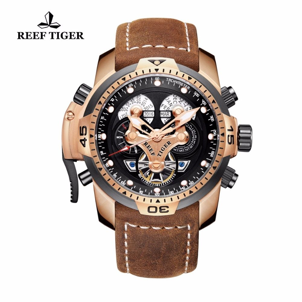 Reef Tiger/RT Military Watches for Men Rose Gold Automatic Wrist Watches Genuine Brown Leather Strap RGA3503