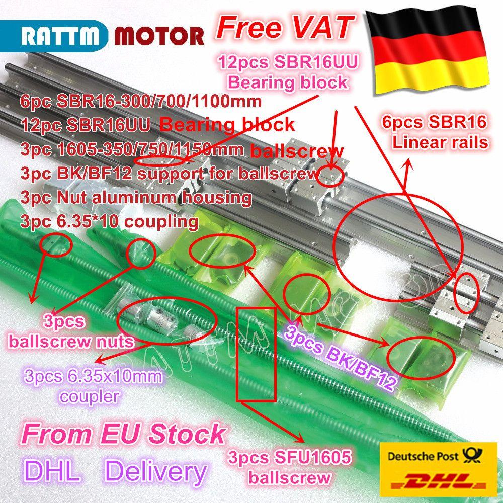 3 satz Linear Schienen SBR16 L-300/700/1100mm & 3 satz Kugelumlaufspindel SFU/RM1605-350/750 /1150mm & Mutter & 3 satz BK/B12 & Koppler für CNC Router