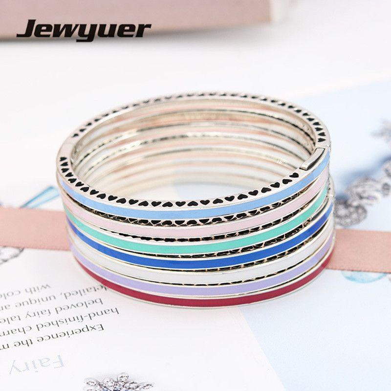 Genuino plata esterlina 925 corazones Radiant pulseras Brazaletes con Ename plata DIY pulseras brazalete para las mujeres jewyuer ysz048