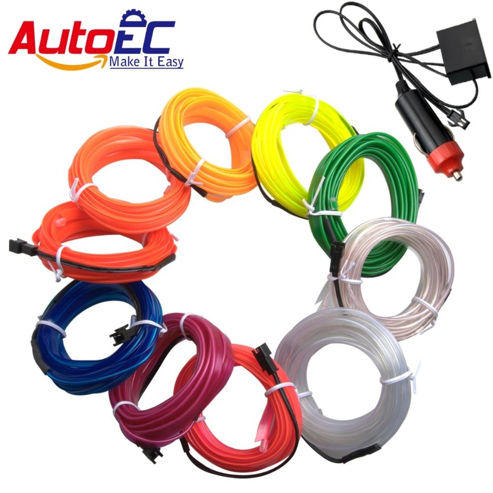 AutoEC1x 4m 5m Sewing Edge flexible neon light glow el salon wire flat led strip Party Car Decor Light controller#LQ313A