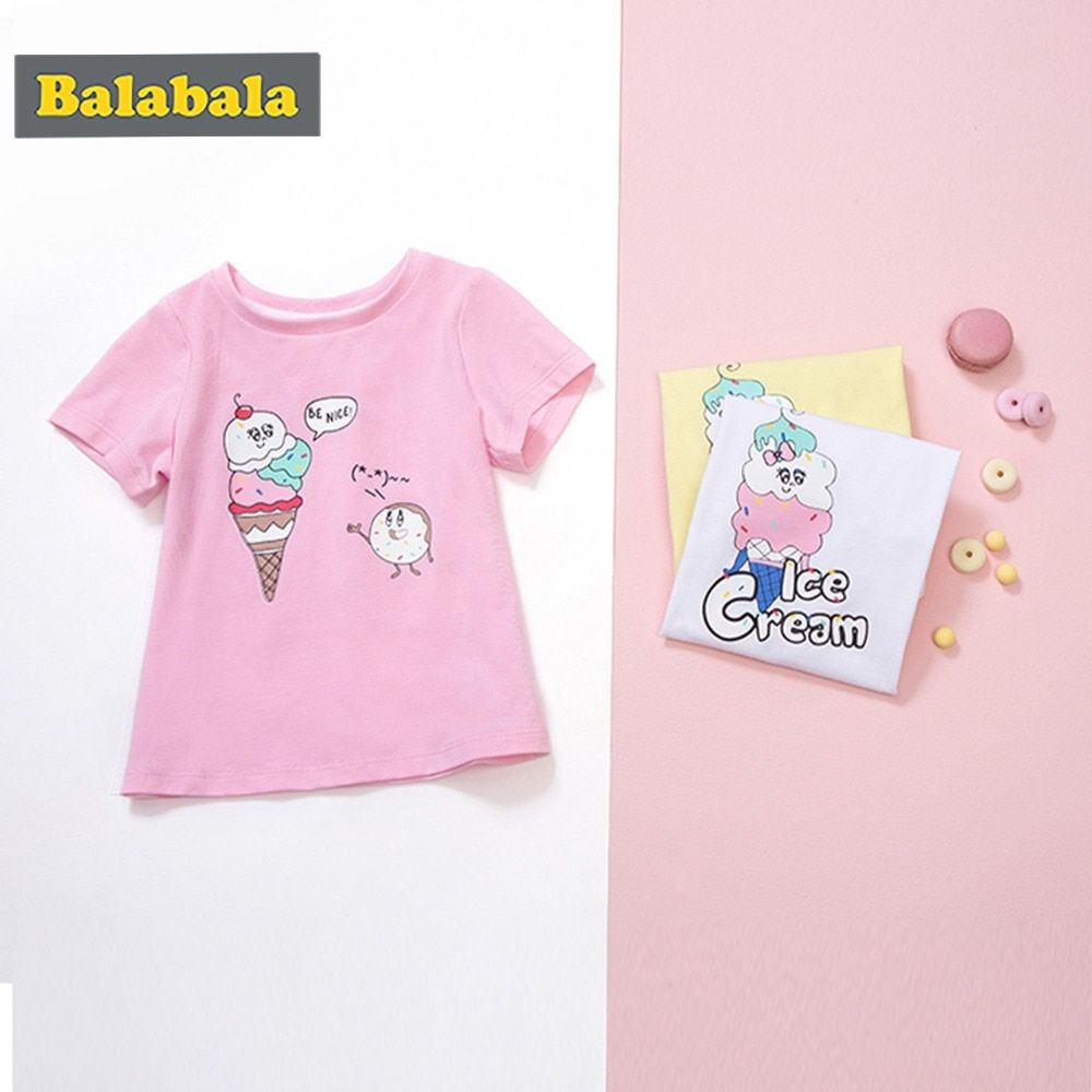 Balabala Hot Sale Cartoon printed tshirt for girls 100% Cotton Short Sleeve Kids Girls T-shirts 2018 Fashion Children Girls