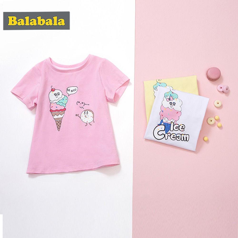 Balabala Hot Sale Cartoon printed tshirt for girls 100% Cotton Short Sleeve Kids Girls T-shirts 2018 Fashion Children Girls
