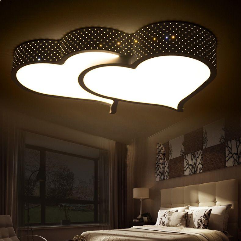 Creative heart-shaped LED ceiling light romantic bedroom lights wedding room lamp study room children Ceiling lamp 110-240V