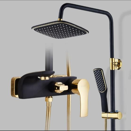 Luxury bathroom shower faucet set Painted black and gold bathtub faucet mixer tap waterfall wall shower head shower Shower tap