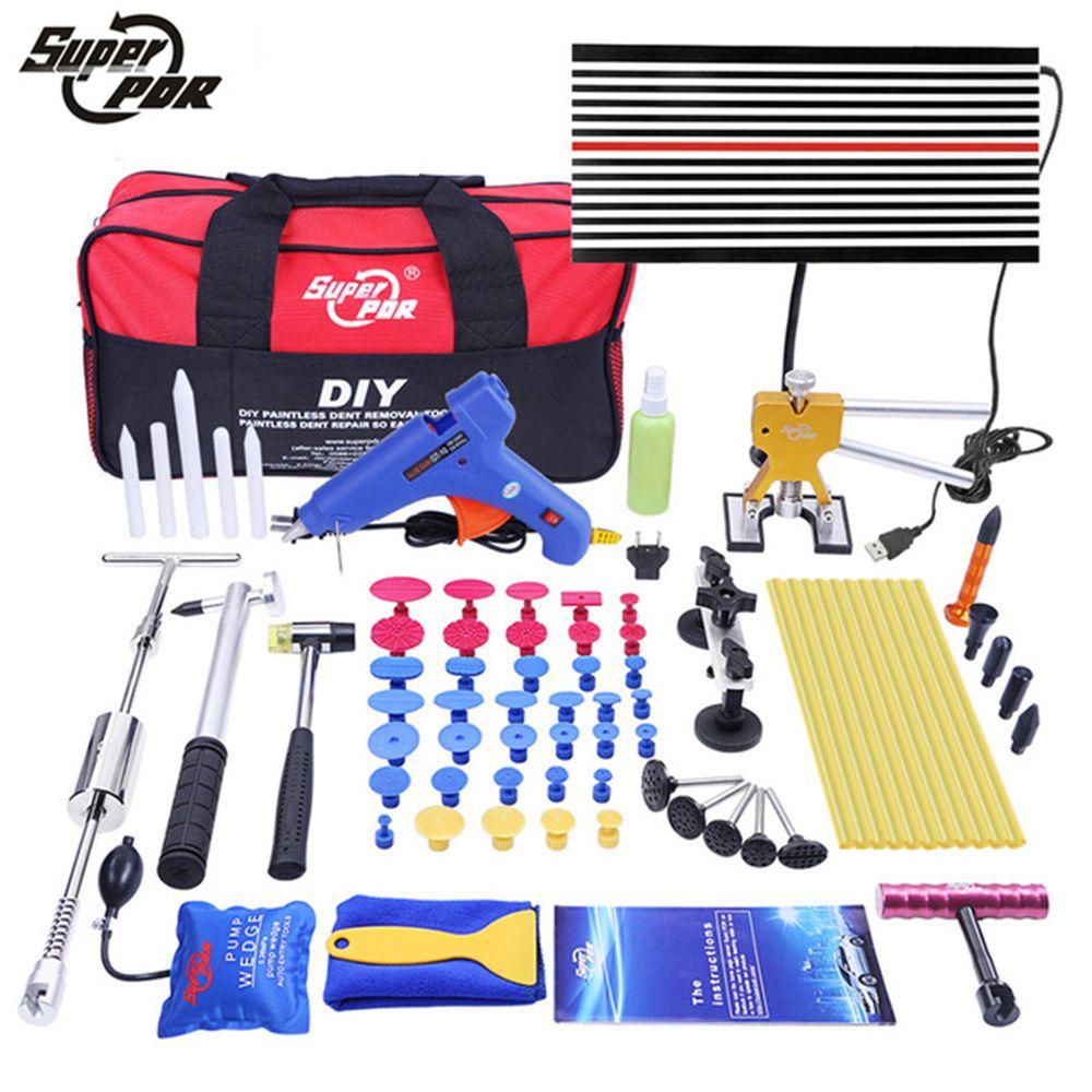 Outils PDR outils de réparation de Dent sans peinture Kit de voiture de retrait de Dent LED panneau de réflecteur extracteur de Dent pistolet à colle pompe cale ensemble d'outils à main