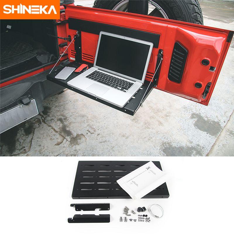 SHINEKA Metal Flexible Tailgate Table Rear Trunk Door Rack Cargo Luggage Holder Carrier Shelf For Jeep Wrangler JK 2007-2016