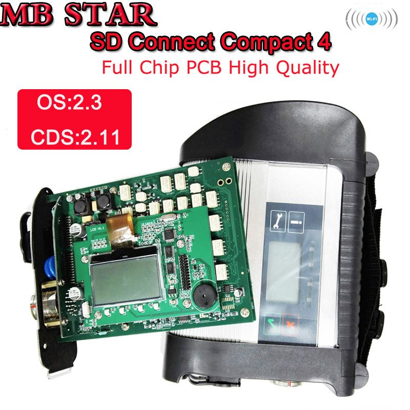 2018-12 Full Chip MB STAR SD Connect Compact C4 Multiplexer Diagnostic-Tool Star C4 Diagnosis System with WIFI Function with HDD