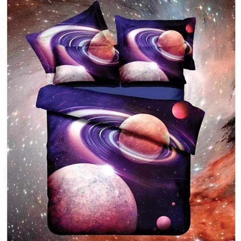 Hot 3d Galaxy bedding sets Twin/Queen Size Universe Outer Space Themed Bedspread /3/4pcs Bed Linen Sheets Duvet Cover Starry sky