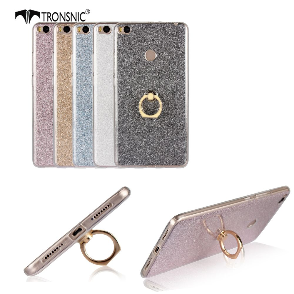 Tronsnic Soft Phone Case for Xiaomi mi max 2 Shiny Powder Cases with 360 Buckle Ring Cover Pink Gray Gold Hot Fashion Metal Stan