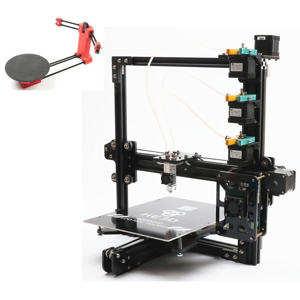 Set sale,NEWest HE3D EI3 tricolor 3D printer diy kit 3 in 1 out printing adding open sourse 3D scanner DIY kit