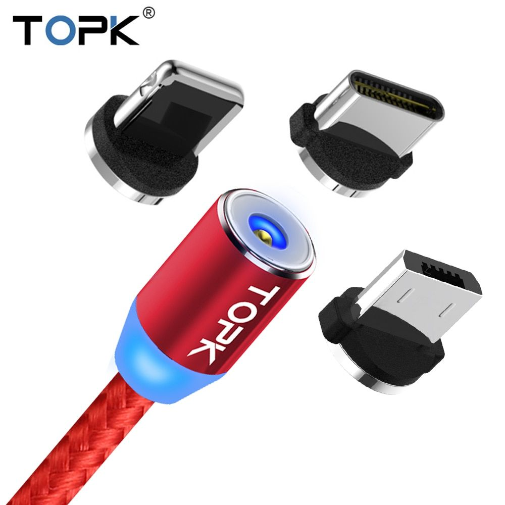 TOPK 1M LED Magnetic Cable For iPhone X 8 7 Plus iPad Air & Micro USB Cable & USB Type C Cable Nylon Braided Magnet Charger