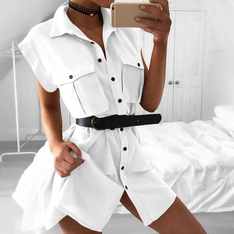 Sleeveless Turn <font><b>Down</b></font> Collar Women Office Dress Fashion Summer Solid Color Vestidos Button Short Dress With Pocket WS8247C
