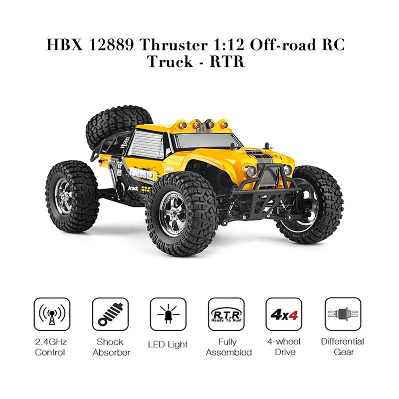 HBX 12889 Thruster 1/12 RC Car 2.4G 4WD Remote Control Drift Electri Car RTR Desert Truck Off-road High Low Speed / Dual Servos