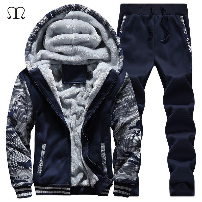 winter men sweat suits fleece warm mens tracksuit set casual jogger suits sportsuit cool jacket pants and sweatshirt set 2018