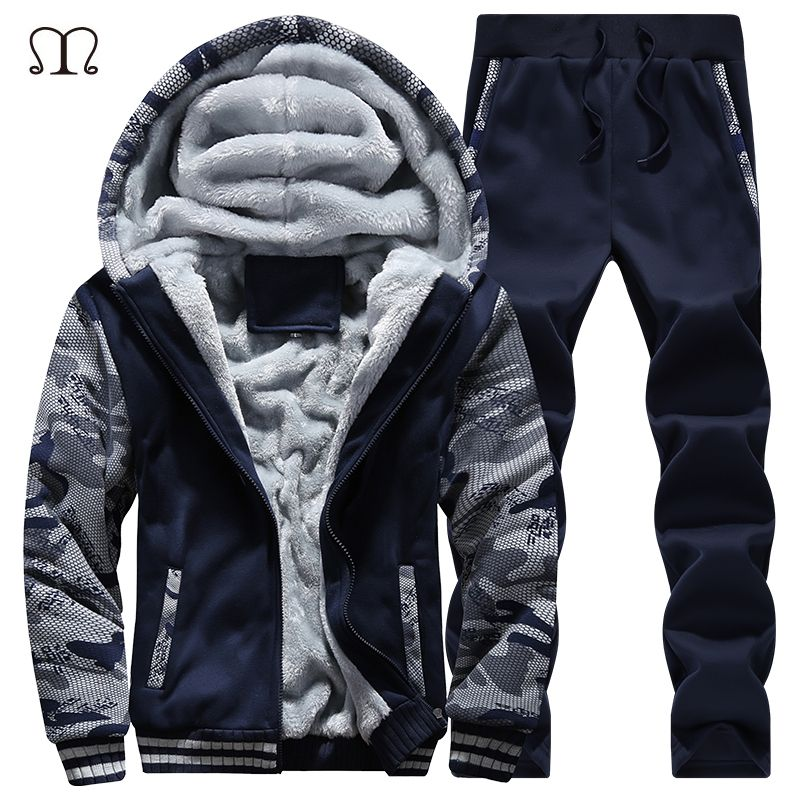 winter men sweat suits fleece warm mens tracksuit set casual jogger suits sportsuit cool jacket pants and sweatshirt set 2018