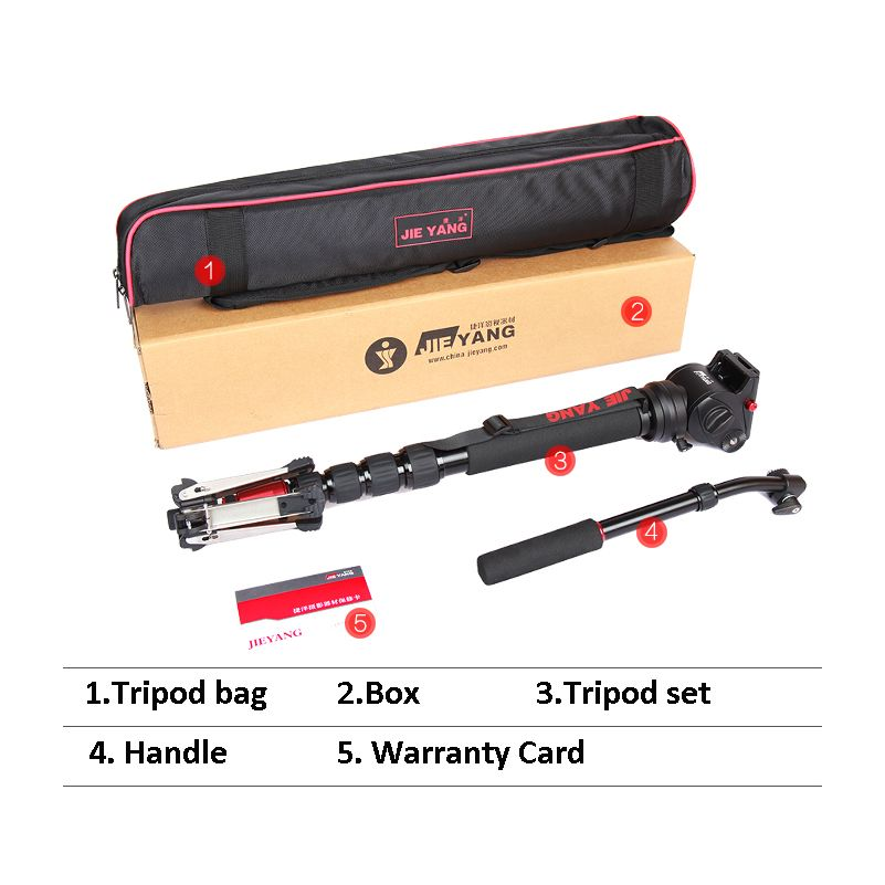 Upgraded JIEYANG JY0506 Aluminum Professional Video Monopod Tripod For Video Camera DSLR Camcorder & Panoramic Fluid Head & Bag