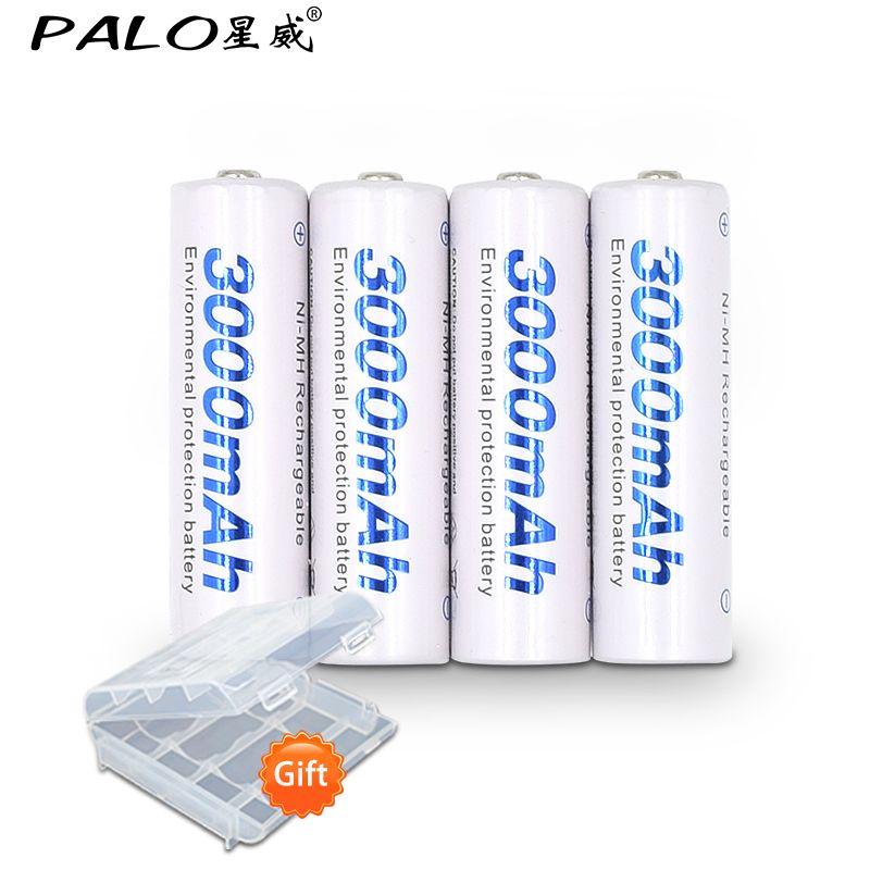4 Unidades de Batería Baja Auto-descarga y Embalaje de Palo 4 Unids 1.2 V AA 3000 mAh NIMH Batería Recargable