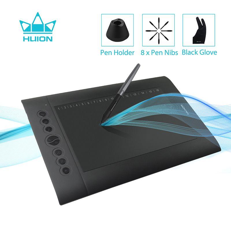 HUION H610 PRO V2 Newest Graphic Tablet Professional Digital Drawing Pen Tablet with Battery-Free Pen Tilt Function 8192 <font><b>Levels</b></font>