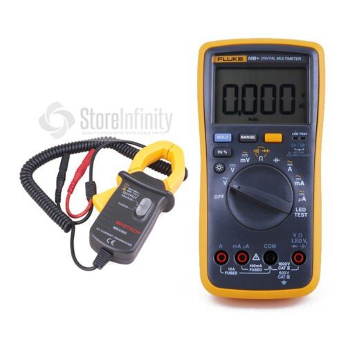 Fluke 18B+ LED AC/DC Voltage Current Digital Multimeter + Transducer AC Current Clamp Meter