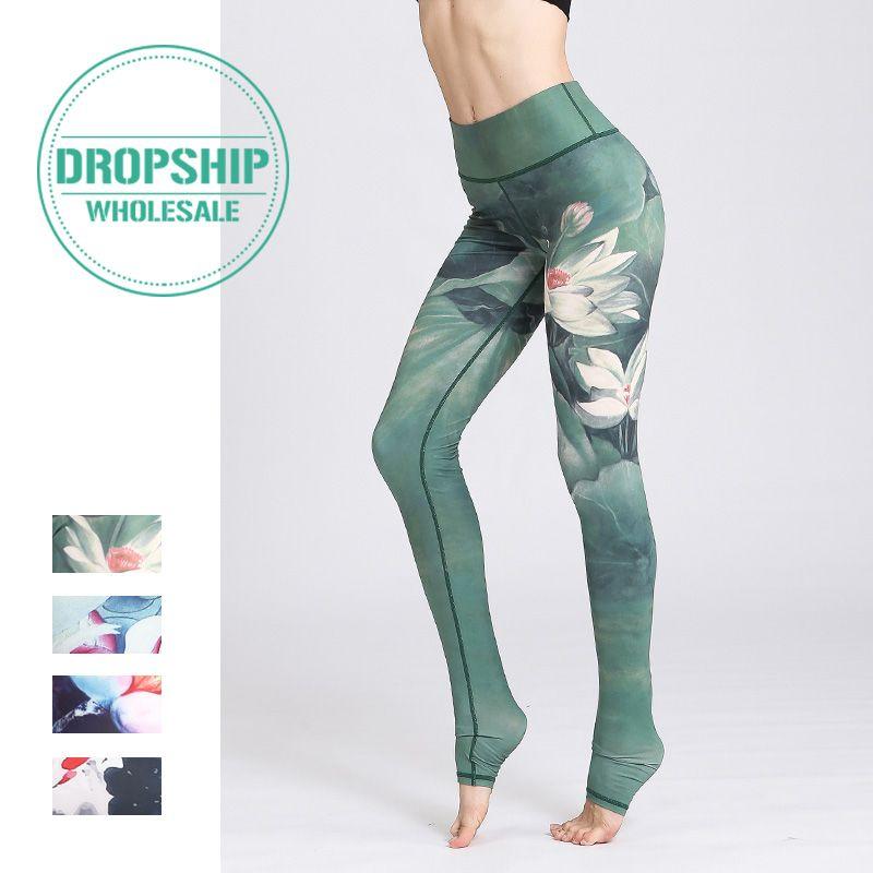 2019 Gym Women Fitness Yoga Pants Slim High waist Sport Leggings Elastic Romantic Printed Long Tights for Running Tummy Control