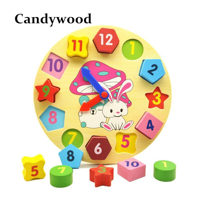 Blocs Jouets en bois Numérique Géométrie Horloge Jouet Figure Blocs Enfants Montessori Jouet Éducatif Pour Enfants de Bébé Garçons