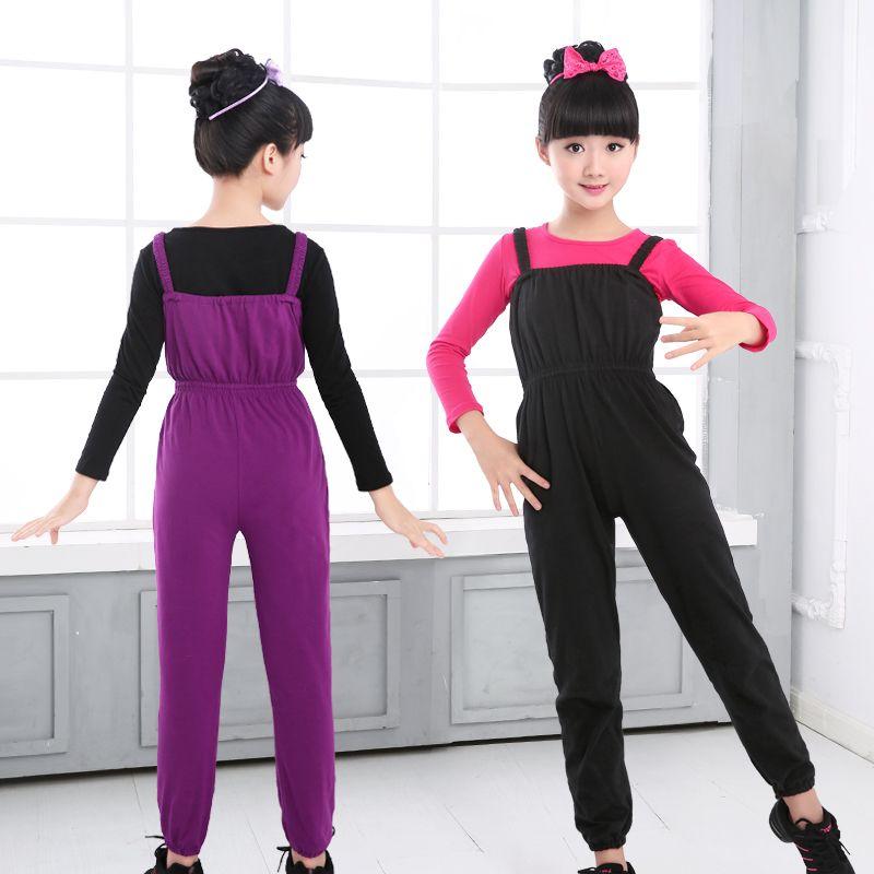 Filles enfants Ballet justaucorps combinaison enfants coton gymnastique bretelles pantalon noir violet Ballet vêtements Dancewear