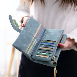 2018 Dull polaco cuero Retro mujeres monedero largo de la vendimia sólido múltiples tarjetas titular bolsos de embrague moda estándar cartera