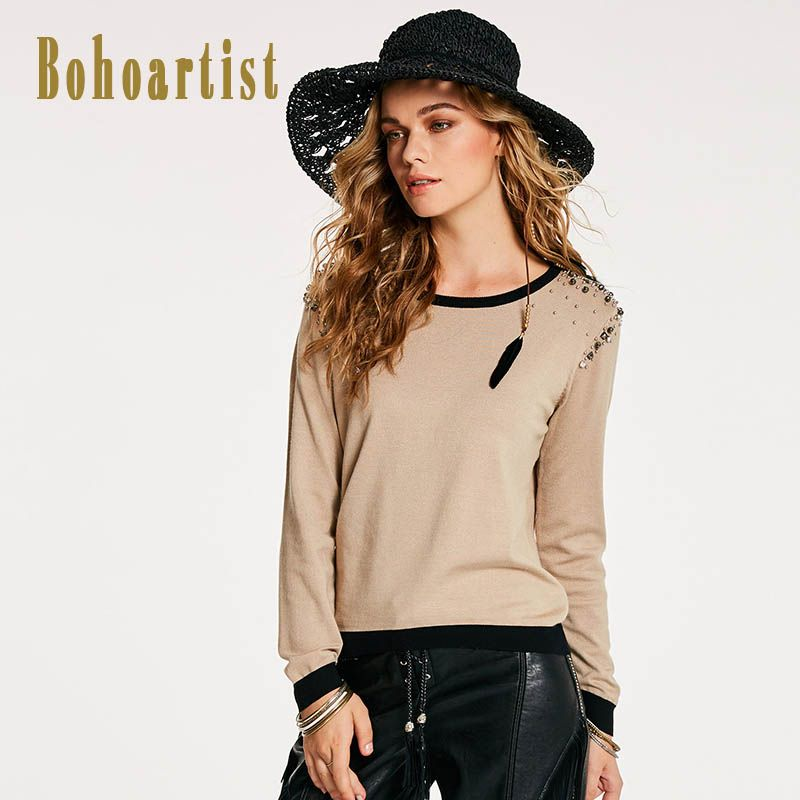 Bohoartist 2017 Women Light Apricot Knitwear with Beading Round Neck Winter Pullover WomenSweater Woman Sweater with Diamond