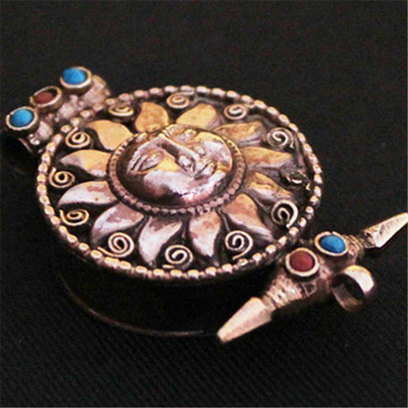 TGB034 Tibétain argent antique Dieu Soleil Fleur De boîte de Prière Tibet GAU carré pour Homme