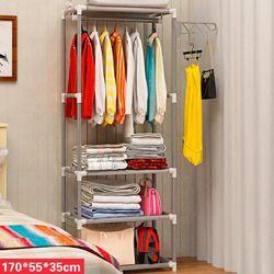 Montaje estante de piso perchero ropa Perchero de pie Metal tela no tejida ropa colgar estantes de almacenamiento