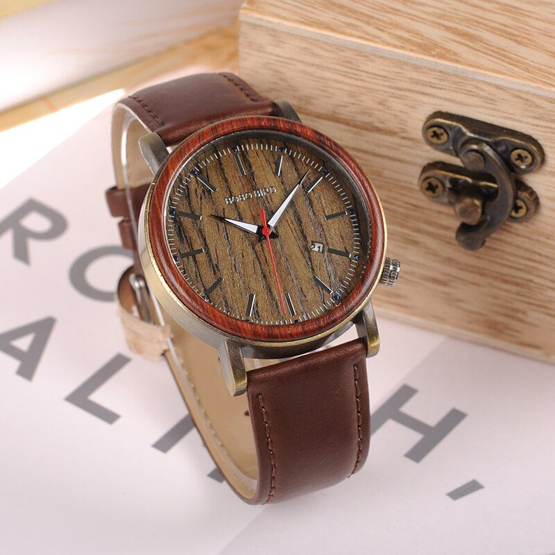 Бобо птица wo27 2017 новые деревянные металлические часы для Для мужчин бренд Дизайн легкий Повседневные часы Календари принимает подгоняет