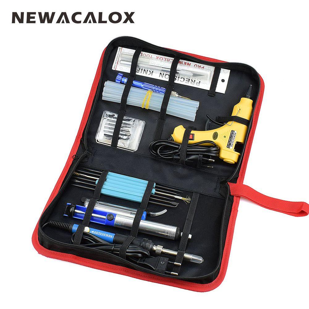 NEWACALOX 12-in-1 Set EU 220V 60W DIY Adjustable Electric Soldering Iron Welding Kit Screwdriver Glue Gun Repair Carving Knife