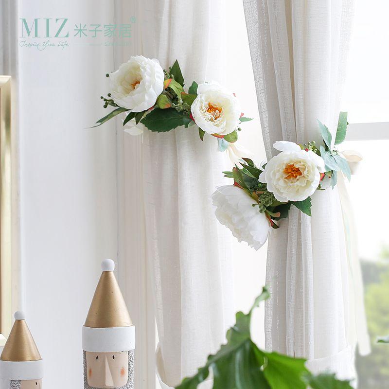Zim 1 Pièce Rideau Accessoires Décoratifs Embrasses Rideau De Mariage Décor Fleur Artificielle avec Ruban Unique Cravate Retour