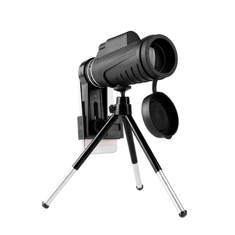 Universal 10X Zoom Optic Lens Armoring Monocular Telescope Phone Camera Lens + Phone Holder Clip for iPhone for All Smart Phones