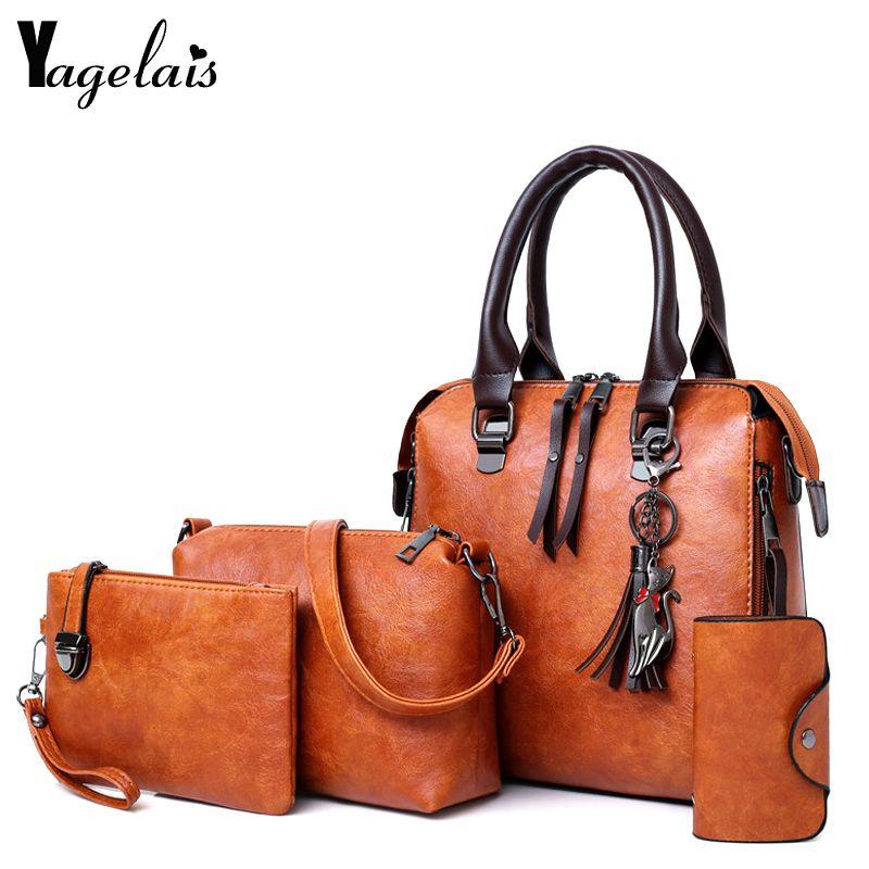 Women Composite Bag Luxury Leather Purse and Handbags Famous Brands Designer Sac Top-Handle Female Shoulder Bag 4pcs Ladies Set
