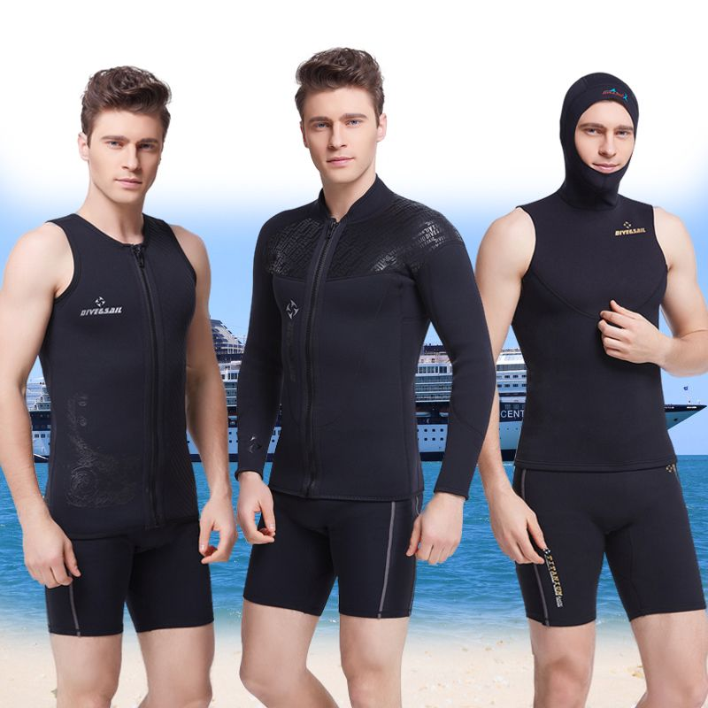 DIVE&SAIL 3MM Thick Wetsuit Split Long Sleeved Clothes Snorkeling Jellyfish Hooded Winter Swimming Surfing Equipment Wholesale