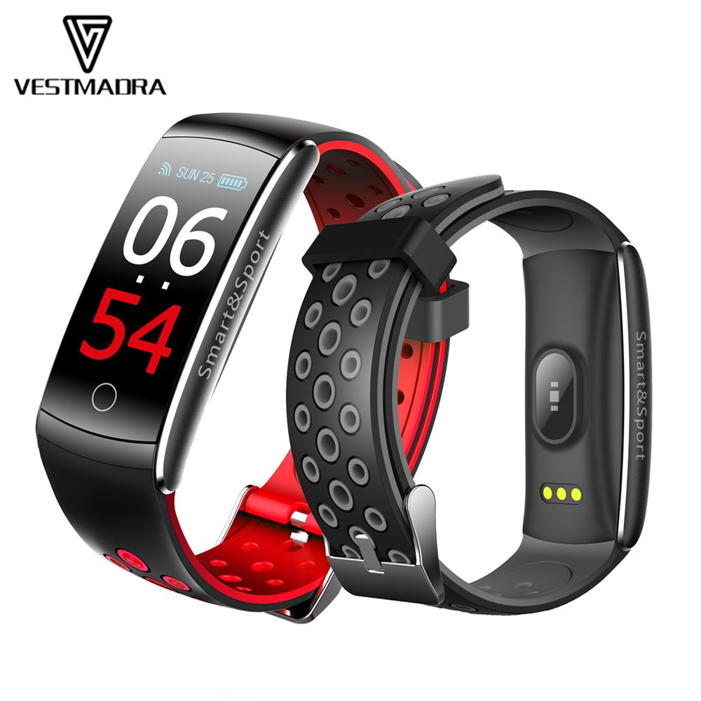 VESTMADRA Q8S IPS Color Screen Smart Bracelet Blood Pressure Fitness Tracker Smart Wristband Heart Rate Monitor Waterproof Watch
