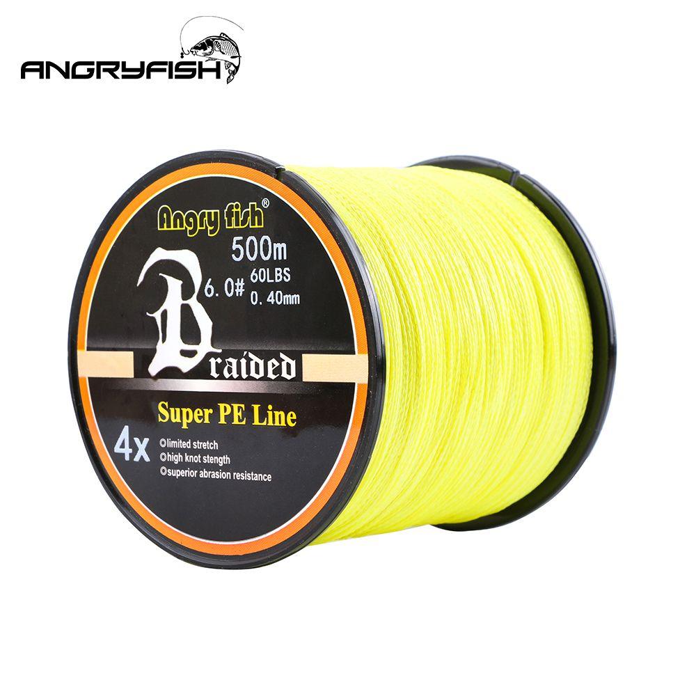 Angryfish chaud nouveau 500m 4 brins tressé ligne de pêche 8 couleurs Super PE ligne forte force