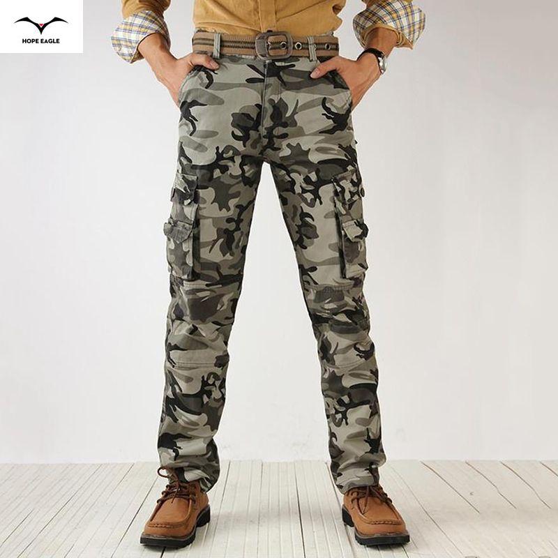Active 2019 hommes printemps armée vert mode Cargo pantalon entrejambe survêtement Patchwork pantalon mâle facile à laver grand Camouflage Cargo pantalon
