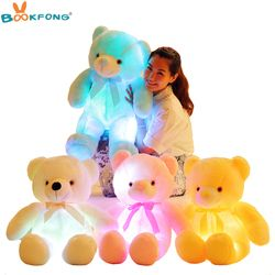 BOOKFONG 50cm Creative Light Up LED Teddy Bear Stuffed Animals Plush Toy Colorful Glowing Teddy Bear Christmas Gift for Kids