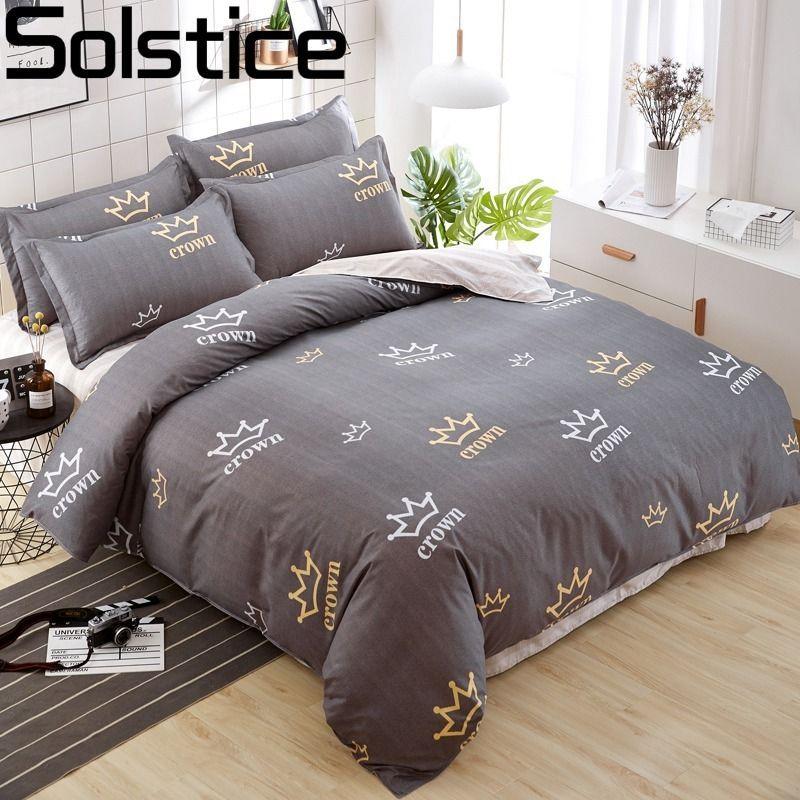 Solstice maison Textile coton literie housse de couette ensemble plat drap taie d'oreiller literie linge de lit reine roi taille 3 ou 4 pièces