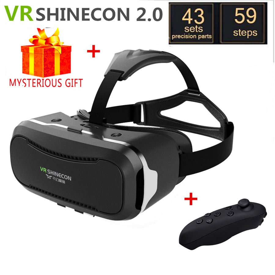 VR Shinecon 2.0 2 II VR Box Casque Headset Video 3 D 3D Virtual Reality Glasses Goggles Smartphone Helmet Smart Google Cardboard