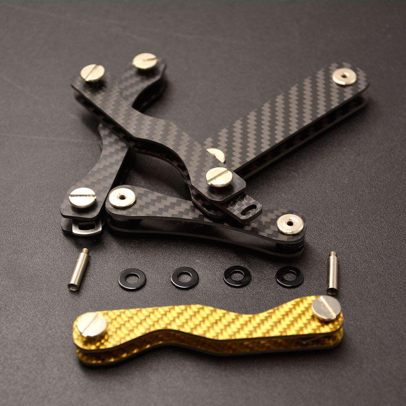 Fibre de carbone Smart clé organisateur porte-clés voiture clés titulaire porte-clés femme de ménage poche Portallaves pochette Llaveros clé portefeuille