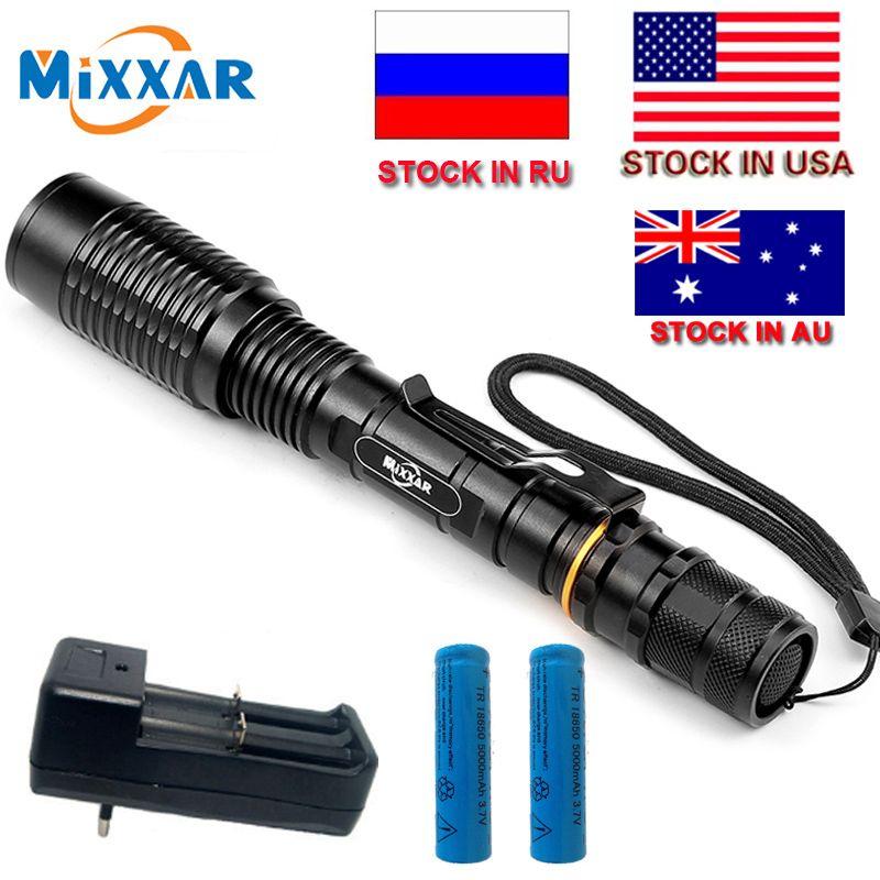 ZK20 T6 lampe de poche LED torche 8000LM 5-Mode torche lumière appropriée 2x5000 mAh batteries télescopique Zoom lampe lanterne livraison directe