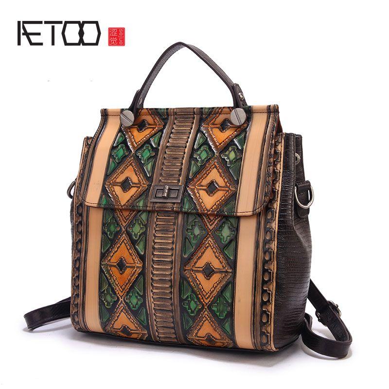 Aetoo Для женщин тиснением ретро большая емкость сумка ручной натирания граффити сумка прилив