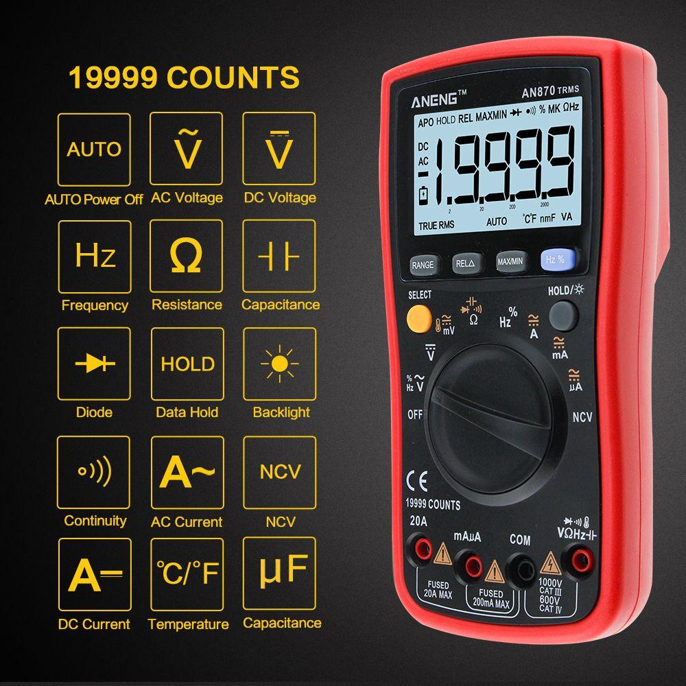 ANENG AN870 Auto Range Digital Precision multimeter True-RMS 19999 COUNTS NCV Ohmmeter AC/DC Voltage Ammeter Transistor <font><b>Tester</b></font>