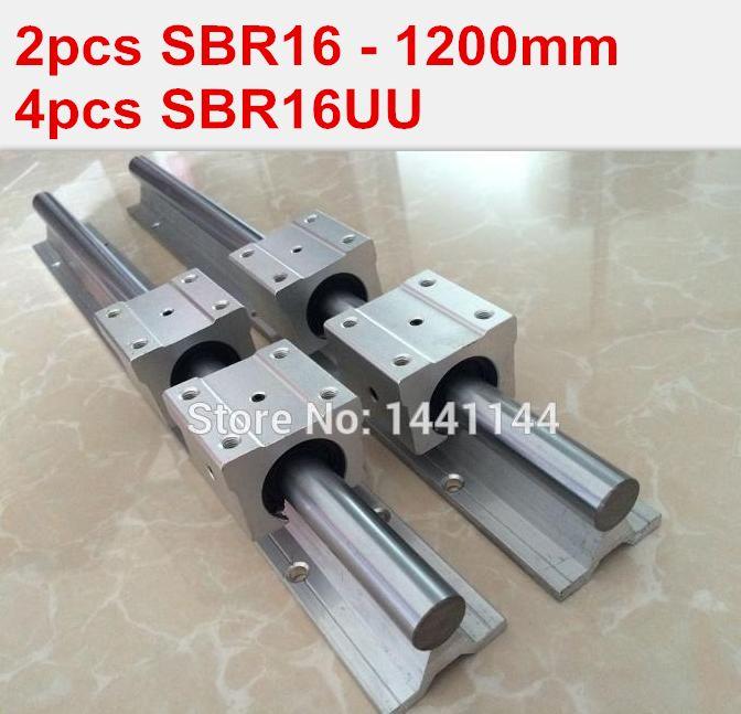 SBR16 linear guide rail: 2pcs SBR16 - 1200mm linear guide + 4pcs SBR16UU block for cnc parts