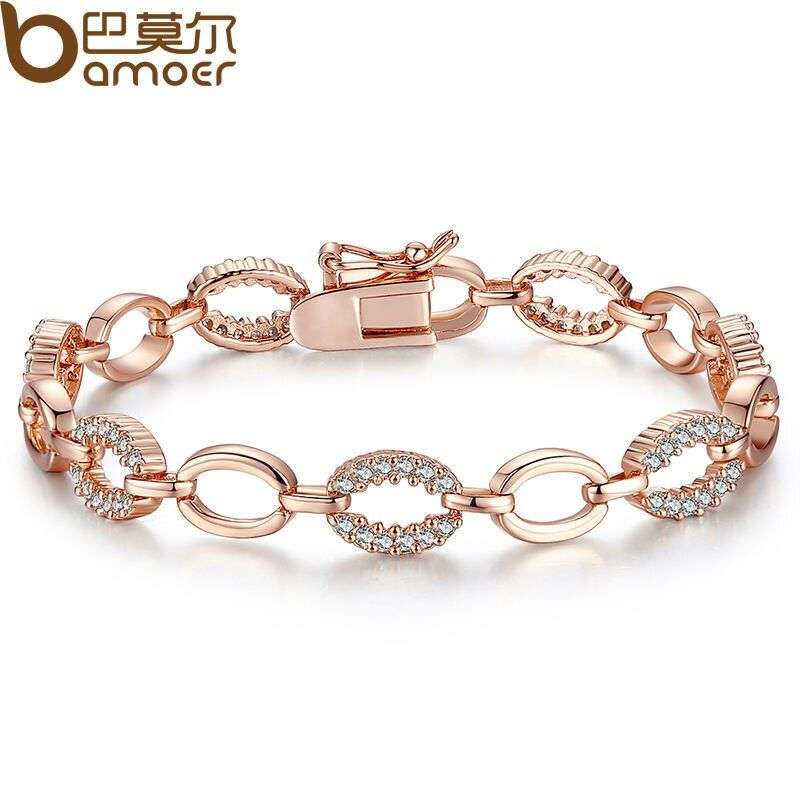 BAMOER Classic  Rose Gold Color Chain & Link Bracelet for Women with Austrian Crystal Jewelry JIB020