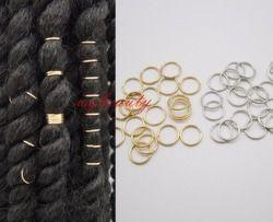 20 pcs/lot Or/Argent Antique/Laiton Antique/Blanc tresse de cheveux dreadlock perle agrafe de manchette Braid Hoop Cercle environ 10mm trou intérieur